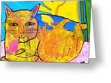 Chat A La Fenetre Greeting Card