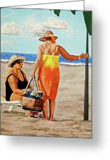 Chat On The Beach - Chat En La Playa Greeting Card