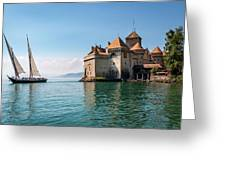 Chateau De Chillon - Boat Sailing Greeting Card