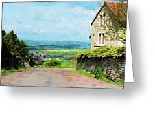 Chateauneuf, Cote-d'or, France, Village Lane Greeting Card
