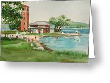 Chautauqua Bell Tower And Beach Greeting Card
