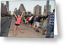 Cheerful Attractive Female Austinite Waves Her Hands With Excitement On Seeing The Austin Bats Greeting Card
