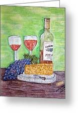 Cheese Wine And Grapes Greeting Card