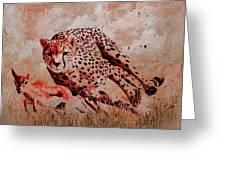 Cheetah Hunting Greeting Card