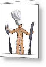 Chef Box Man Character With Cutlery Greeting Card