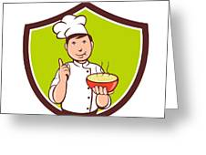 Chef Cook Bowl Pointing Crest Cartoon Greeting Card