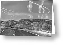 Chem Trails Over Valley Of Fire Black White  Greeting Card
