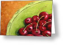 Cherries Green Plate Greeting Card