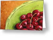 Cherries Green Plate Greeting Card