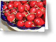Cherries In A Bowl Close-up Greeting Card