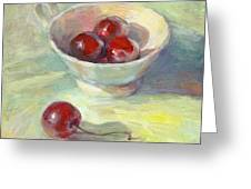 Cherries In A Cup On A Sunny Day Painting Greeting Card