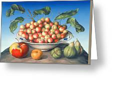 Cherries In Delft Bowl With Red And Yellow Apple Greeting Card