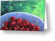Cherries On A Blue Plate Greeting Card