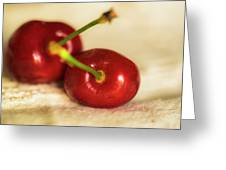 Cherries On White Greeting Card