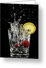 Cherries Splashing Into Sparkling Water Glass With Lemon Slice O Greeting Card