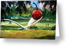 Cherry And Spoon Greeting Card