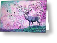 Cherry Blossom Deer Greeting Card