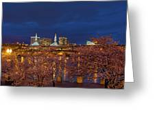 Cherry Blossom Trees At Portland Waterfront During Blue Hour Greeting Card
