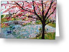 Cherry Blossoms And Bridge 3 201730 Greeting Card