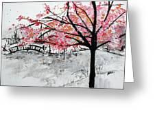 Cherry Blossoms And Bridge Meadowlark Botanical Gardens 201728 Greeting Card