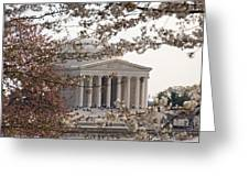 Cherry Blossoms And The Jefferson Memorial Greeting Card
