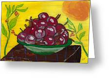 Cherry Bowl Greeting Card by Enrico Pischiera