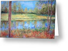 Cherry Moon Pond Greeting Card