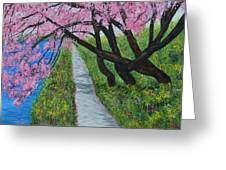 Cherry Trees- Pink Blossoms- Landscape Painting Greeting Card
