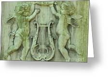 Cherubs In Moss Green Greeting Card
