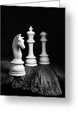 Chess Pieces On Old Wood Greeting Card