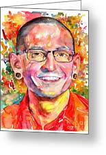 Chester Bennington Watercolor Greeting Card