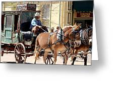 Chestnut Horses Pulling Carriage Greeting Card