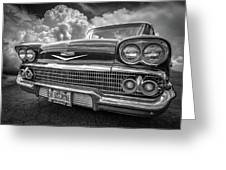 Chevrolet Biscayne 1958 In Black And White Greeting Card