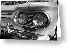 Chevy Corvair Headights And Bumper Black And White Greeting Card
