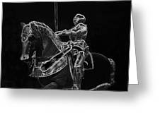 Chicago Art Institute Armored Knight And Horse Bw Pa 02 Greeting Card