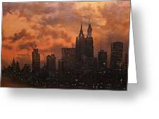 Chicago At Dusk Greeting Card