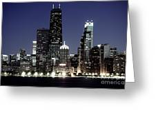 Chicago At Night High Resolution Greeting Card