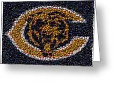 Chicago Bears Bottle Cap Mosaic Greeting Card by Paul Van Scott