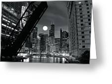 Chicago Black And White Nights Greeting Card