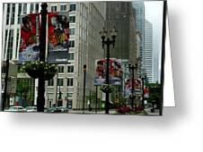 Chicago Blackhawk Flags Greeting Card