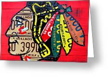 Chicago Blackhawks Hockey Team Vintage Logo Made From Old Recycled Illinois License Plates Red Greeting Card