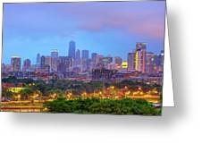 Chicago Blues - Downtown Skyline Under Clouds Greeting Card by Gregory Ballos