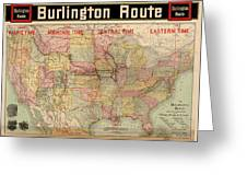 Chicago, Burlington Route System Map, 1892. Greeting Card
