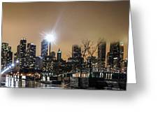 Chicago City At Night Greeting Card