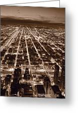 Chicago City Lights West B W Greeting Card