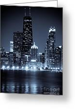 Chicago Cityscape At Night Greeting Card