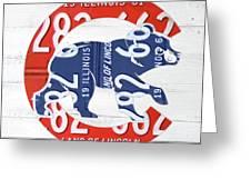 Chicago Cubs Retro Vintage Baseball Logo License Plate Art Greeting Card