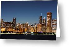 Chicago Downtown Skyline At Night Greeting Card
