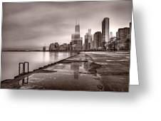 Chicago Foggy Lakefront Bw Greeting Card