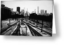 Chicago Grant Park Railroad Skyline Greeting Card